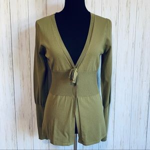 BCBGMaxazria military green fitted cardigan M NWT